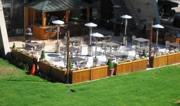 The Tram Sports Bar Outdoor Patio in Summer